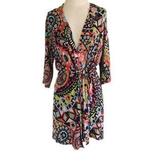 Josie Natori boho colorful robe kimono